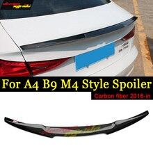 цена на A4 B9 Rear spoiler wing M4 Style True Carbon fiber Fits For Audi A4 A4a A4Q B9 wing Rear Trunk Spoiler Gloss Black 2016-2018