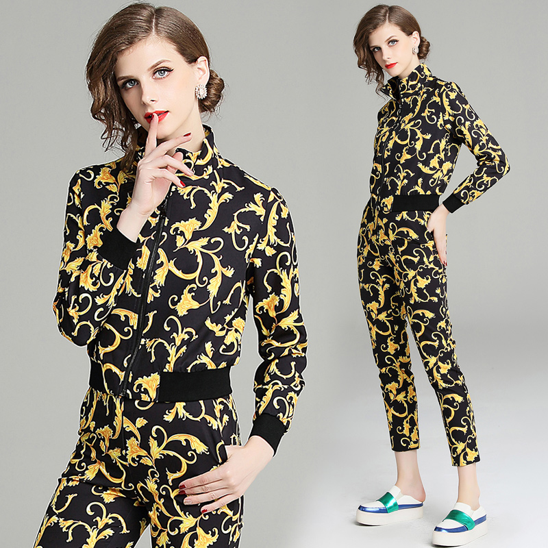 quality new Fashion Runway Designer Suit Set Women's Long sleeve jacket Printed Blouse and Vintage Pants Two Piece Set