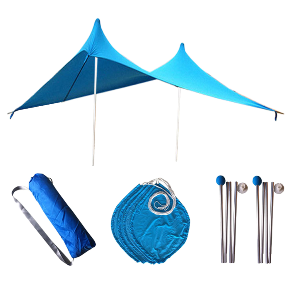 3 4 persona Spiaggia Parasole Baldacchino UPF50 Protezione UV Ripari per il sole Tarp Tenda - 4
