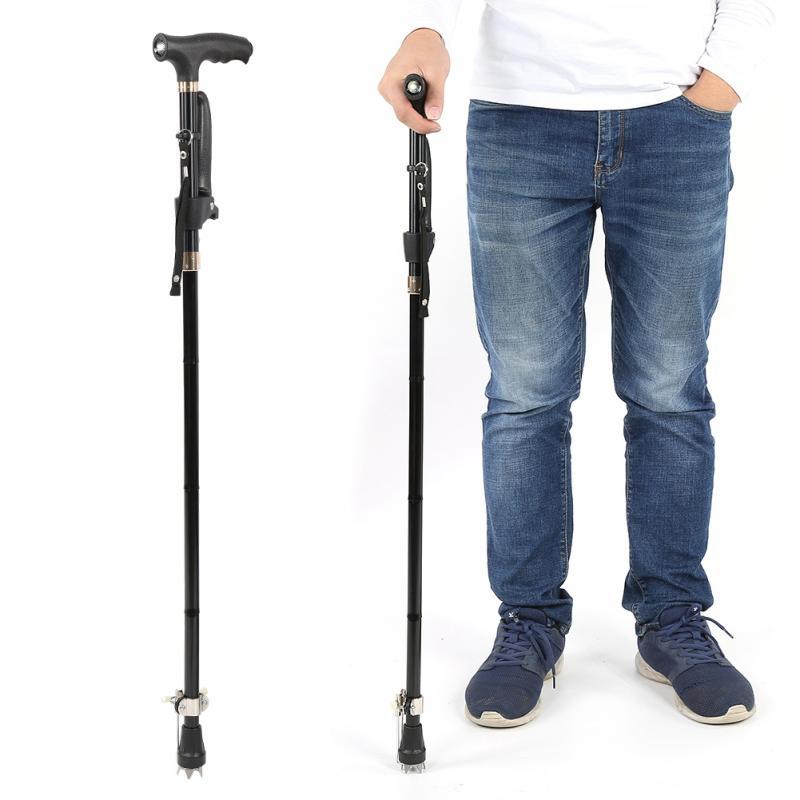 KöStlich Aluminium Legierung Klapp Ältere Gehstock Cane Krücke Mit Licht Für Klettern Gesundheitsversorgung