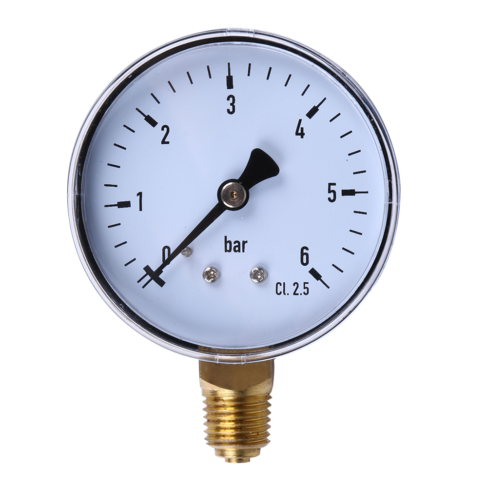 1/4 Inch Manometer 6 Bar Compressor Compressed Air Pressure Gauge For Air Water Oil Gas Measurement