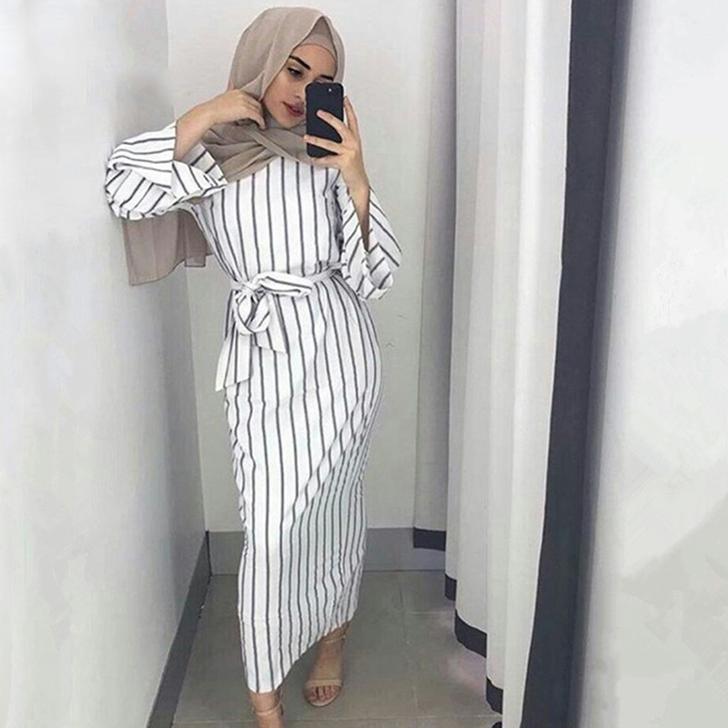 2018 Muslim Stripe Long Maxi Hijab Arabic Dress Dubai Abaya Robe Gowns Kimono Jubah Ramadan Arab Islamic Clothing Kaftan Yukata