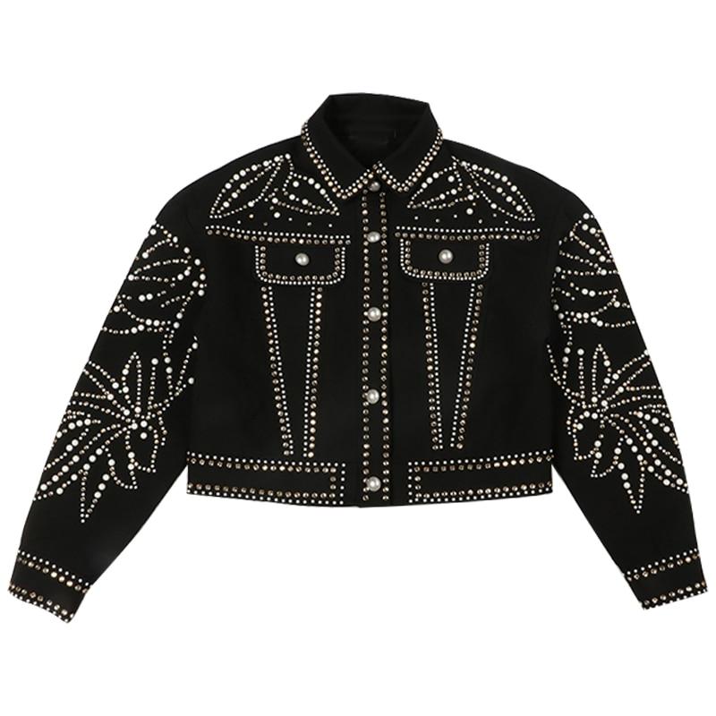 Veste Manteau Style Piste Pardessus Luxe Hiver Vêtements Streetwear Perles Designer 2018 Punk Femmes De Diamant Femelle Noir nwYBX4xq0