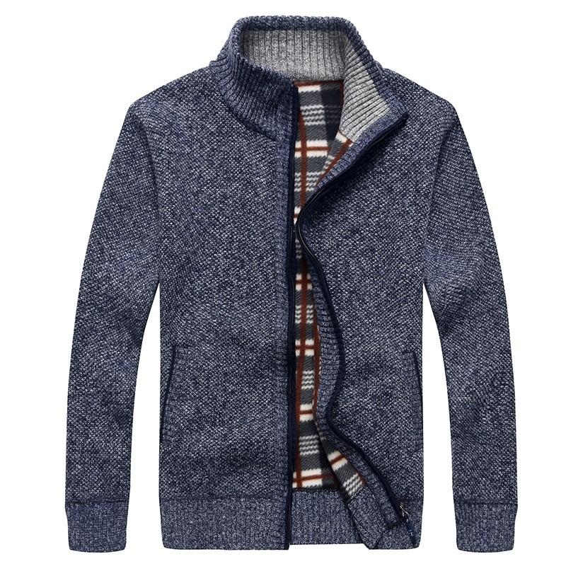 Thick Cardigan Men 2018 Men's Sweater Winter Warm Cashmere Wool Zipper Pullover Sweaters Man Casual Knitwear Plus Size M-XXXL