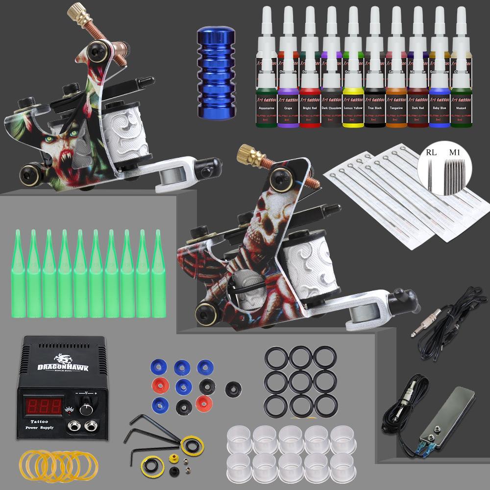 Beginner Tattoo Kit Supplies Equipment Set Coils Machine Guns 20 Color ink Needle Power Tip GripBeginner Tattoo Kit Supplies Equipment Set Coils Machine Guns 20 Color ink Needle Power Tip Grip