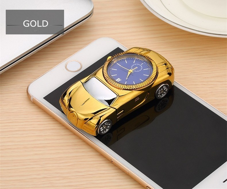 COXRY USB Charging Flameless Lighter Gold Car Model Men Watches 2018 Luxury Brand Men 39 s Watches Quartz Toys Collection Clock Men in Quartz Watches from Watches