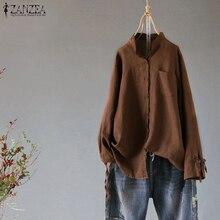 ZANZEA Women Retro Cotton Linen Blouse Spring Stand Collar Long Sleeve Buttons Shirt Casual Bow Tie Top Femme Tunic Blusas S-5XL