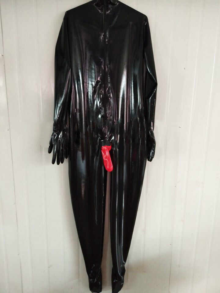Latex Suit Rubber Cool Catsuit Black and Red Suit Party Bodysuit Size XS-XXL