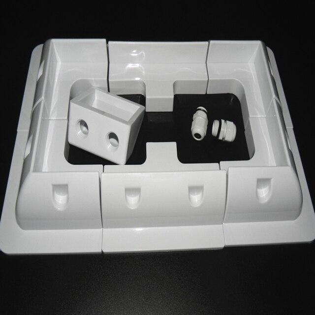 1 conjunto de kit de suporte de montagem, placa solar abs, cabo de cor branca, entrada gand, ideal para 7 peças de um conjunto para caravan motorhome rv