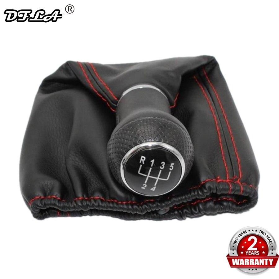 Pour Seat Ibiza 1996 1997 1998 1999 2000 2001 voiture-style 5 vitesses voiture levier de vitesse bâton pommeau de levier de vitesse avec PU cuir botte ligne rouge