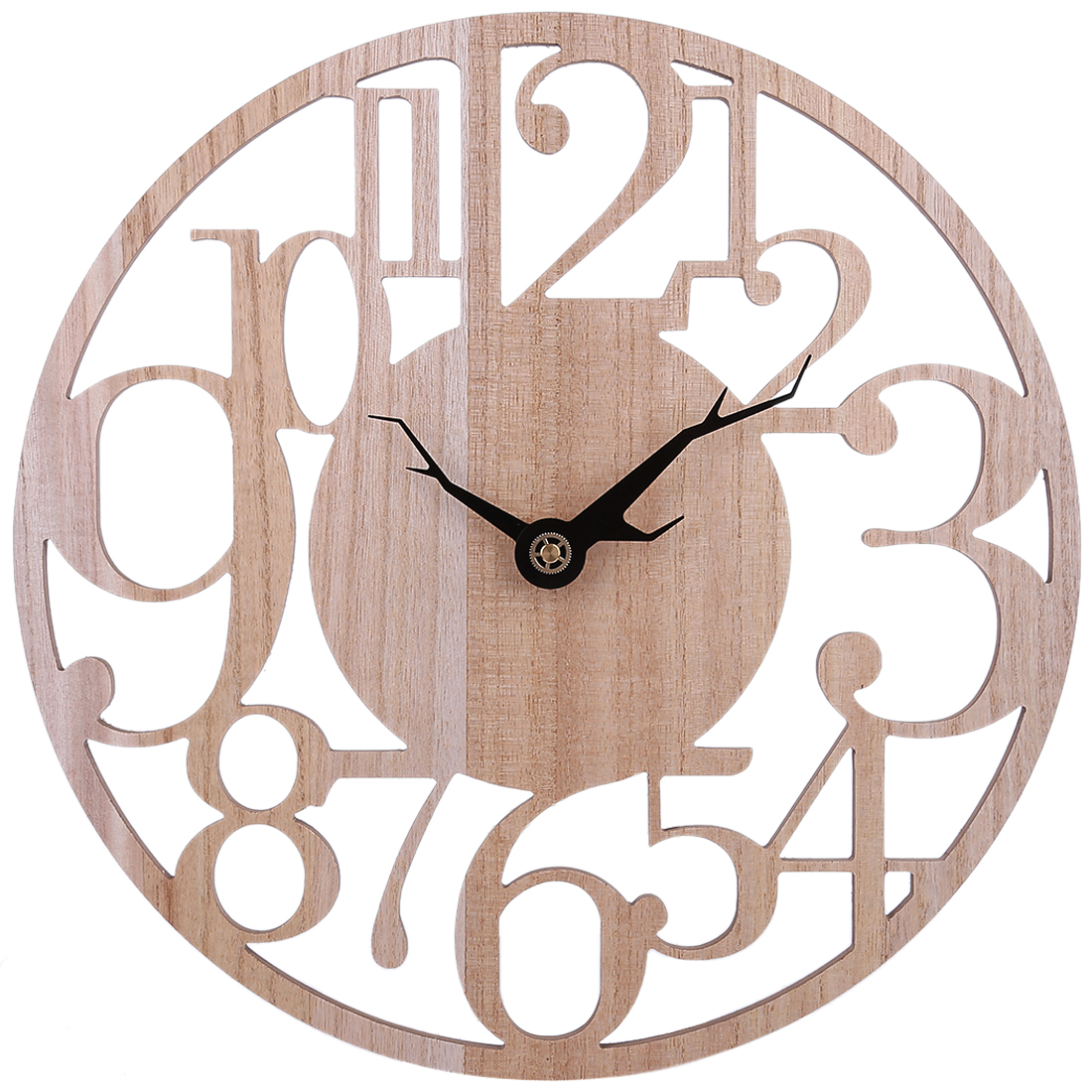 Clocks 34/40cm Brief Hollow Arabic Numerals Mute Wall Clock Battery Operated Hanging Clock For Living Room Decor Light Wood Color Big Clearance Sale Home Decor