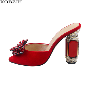 Ladies Luxury Leather Rhinestone Summer Sandals