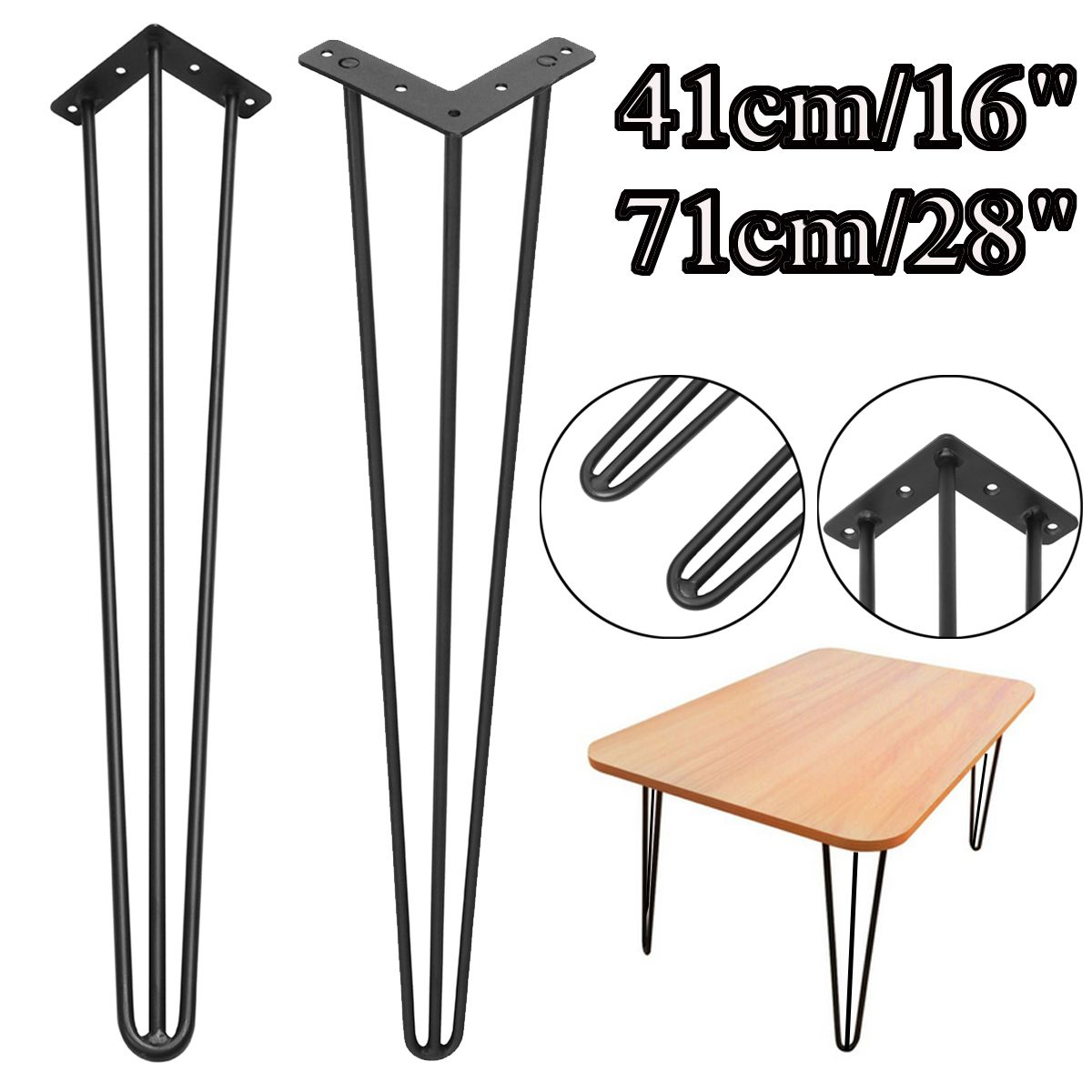 Newest 1Pcs 41/71 Cm 3 Rod Dining Table Legs Home Accessories DIY Handcraft Hallway Desk Steel Furniture Legs Support Sofa Legs