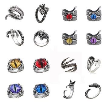 Vintage Punk Ring dla mężczyzn biżuteria regulowane pierścionki z motywem zwierzęcym kolorowe Devil Eyes pierścionki Halloween prezenty bożonarodzeniowe hip-hopowe pierścionki tanie i dobre opinie Vysshiy Ze stopu cynku Unisex Metal Zespoły weselne Zwierząt Wszystko kompatybilny Other decoration Gypsy ustawianie Moda