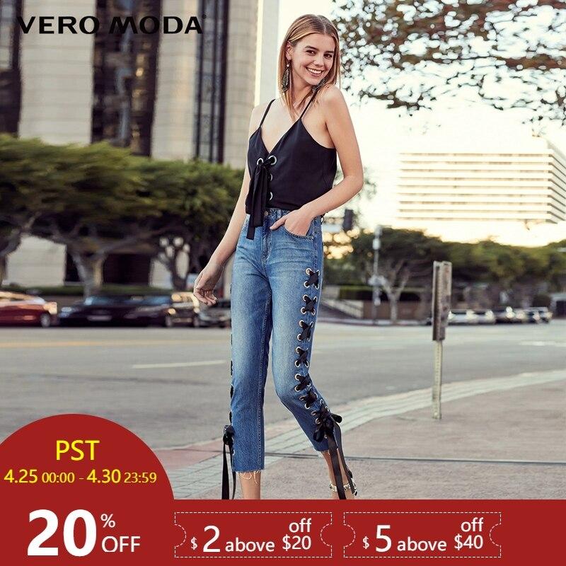 Vero Moda 2019 new straps worn out three-quarter high waist cotton   jeans   |31826I518