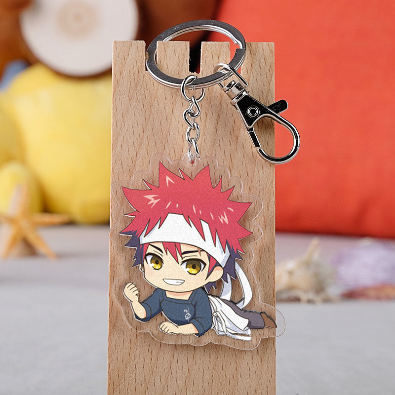 Anime Shokugeki No Soma Cosplay Keychain Cartoon Nakiri Erina Yukihira Souma Isami Aldini Car Key Holder Chain Pendants Keyring