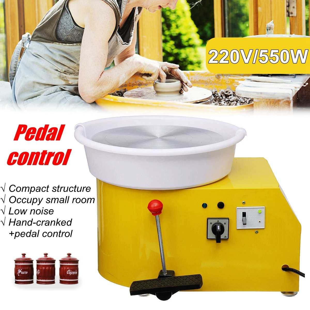 Pottery Wheel Machine 32cm AC 220V 550W Flexible Manual pedal Ceramic Work Ceramics Clay Art With Mobile Smooth Low Noise