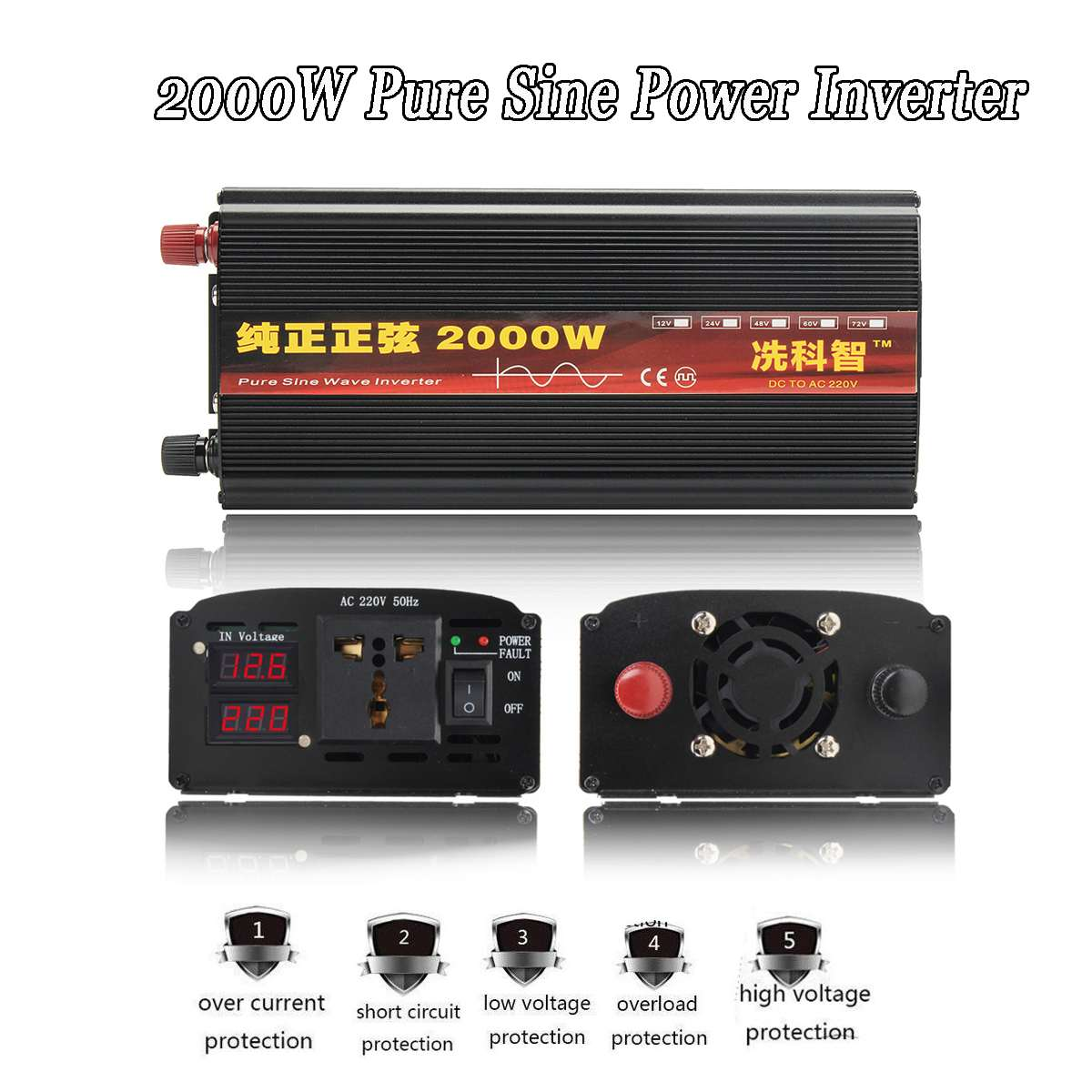 Onduleur 12 V/24 V 220V 2000/3000/4000W transformateur de tension pur onduleur à onde sinusoïdale DC12V à AC 220V convertisseur + 2 LED affichage - 3