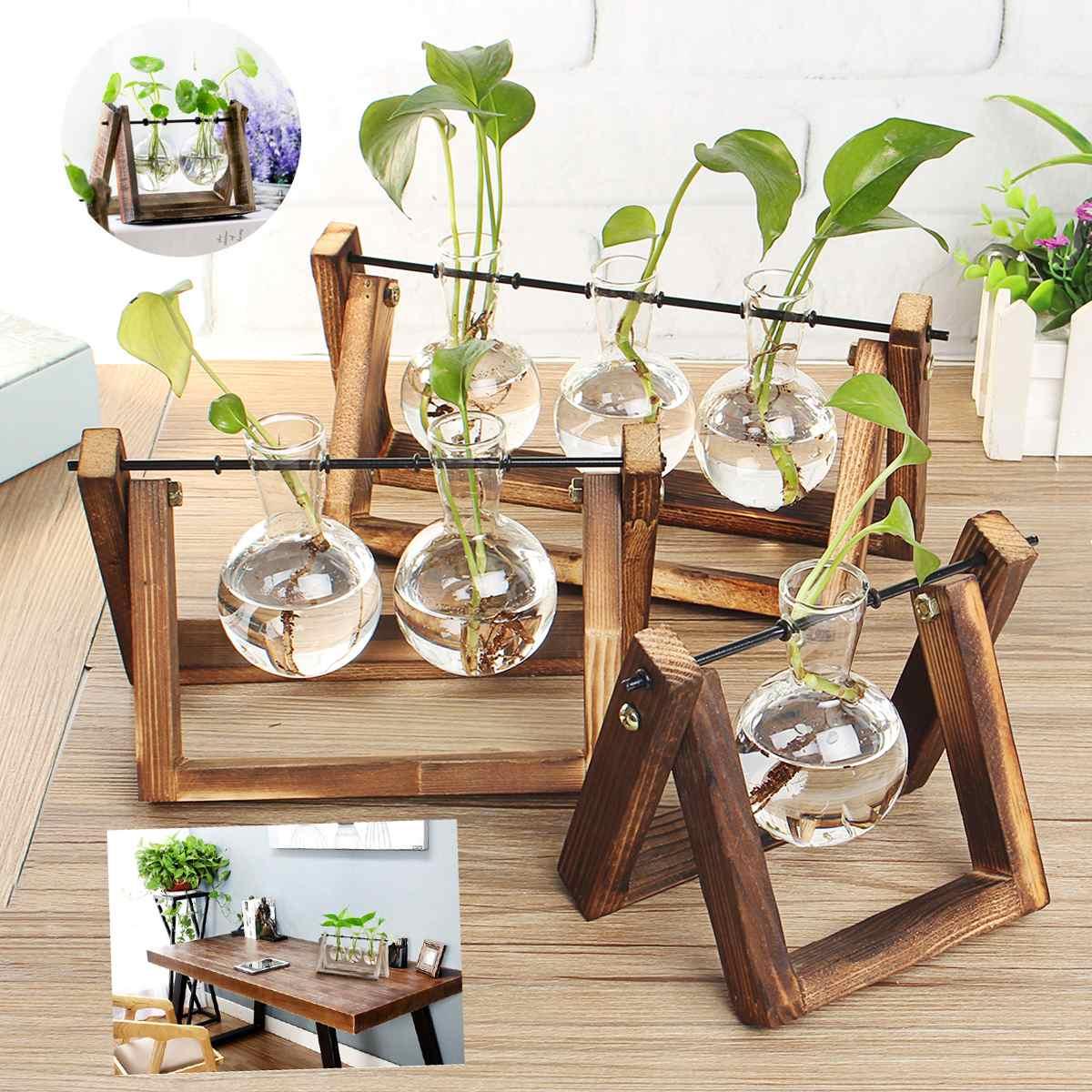 modern hanging flowers pot wood stand glass garden kitchen