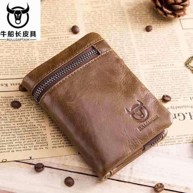 BULLCAPTAIN 2020 MEN Coffee Cow Leather Wallet Coin Pocket Money Purse Bag Card Holder Short Trifold Hasp Zipper Wallet