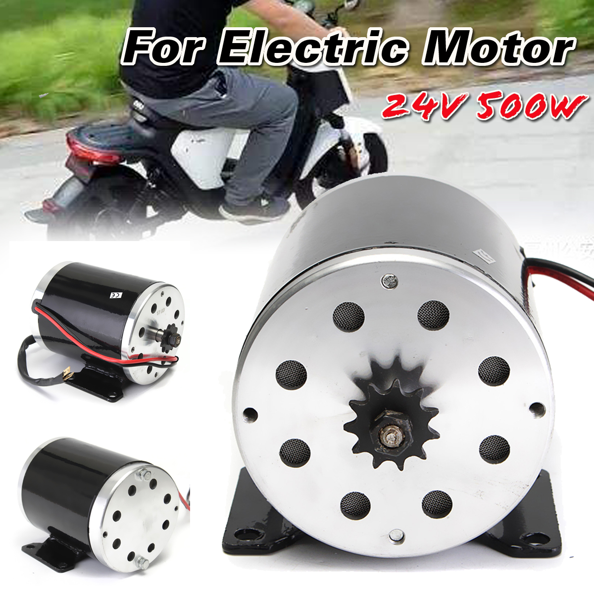 Здесь можно купить  New 24V 500W 28.5A Electric Brushed Motor 2800Rpm with bracket For Scooter E-Bike Mini Bike Go Kart  Электротехническое оборудование и материалы