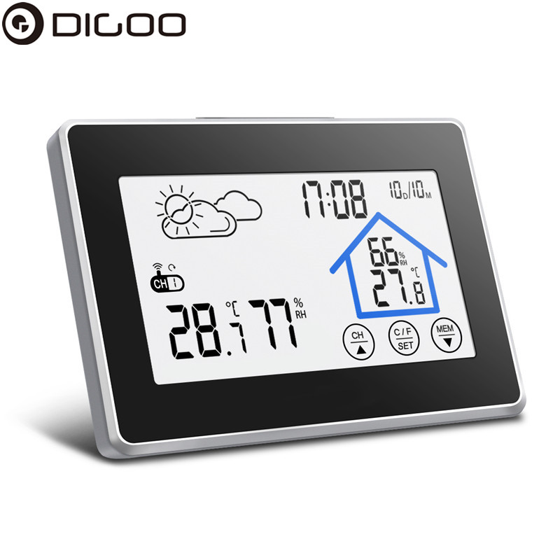 Digoo DG-TH8380 Wireless Screen Weather Station Forecaster With Temperature Humidity Thermometer Outdoor Forecast Sensor Clock