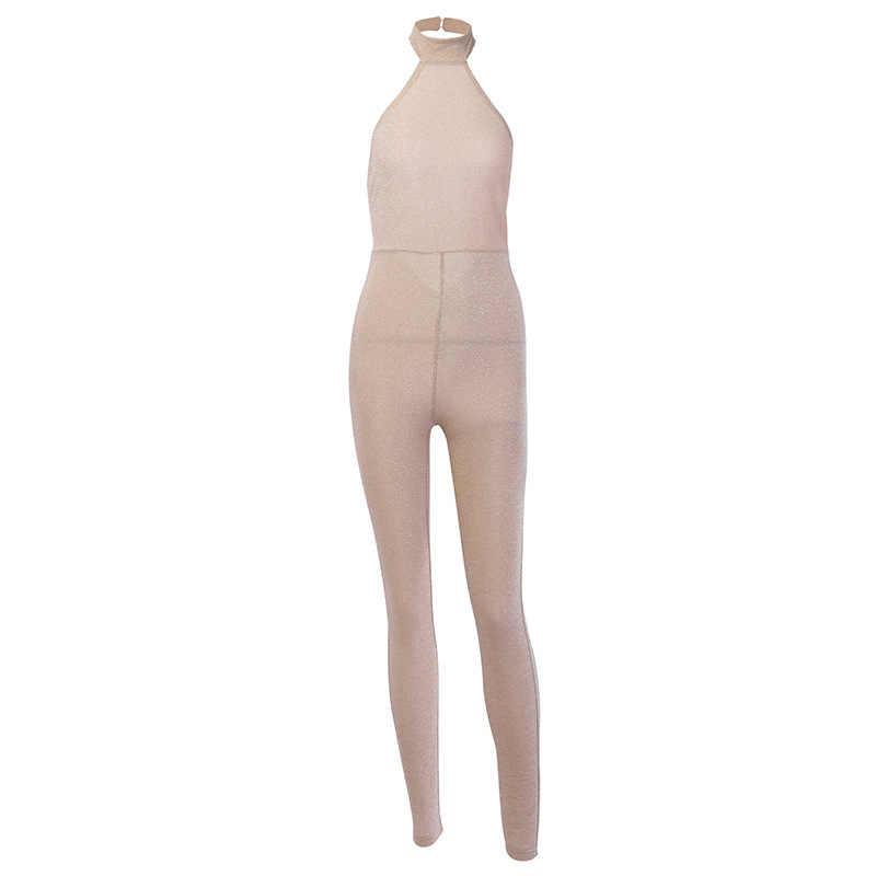 Fuedage блеск сексуальный комбинезон женский комбинезон без рукавов Летний костюм с открытой спиной вечерние Club Элегантные Комбинезоны для Для женщин 2019