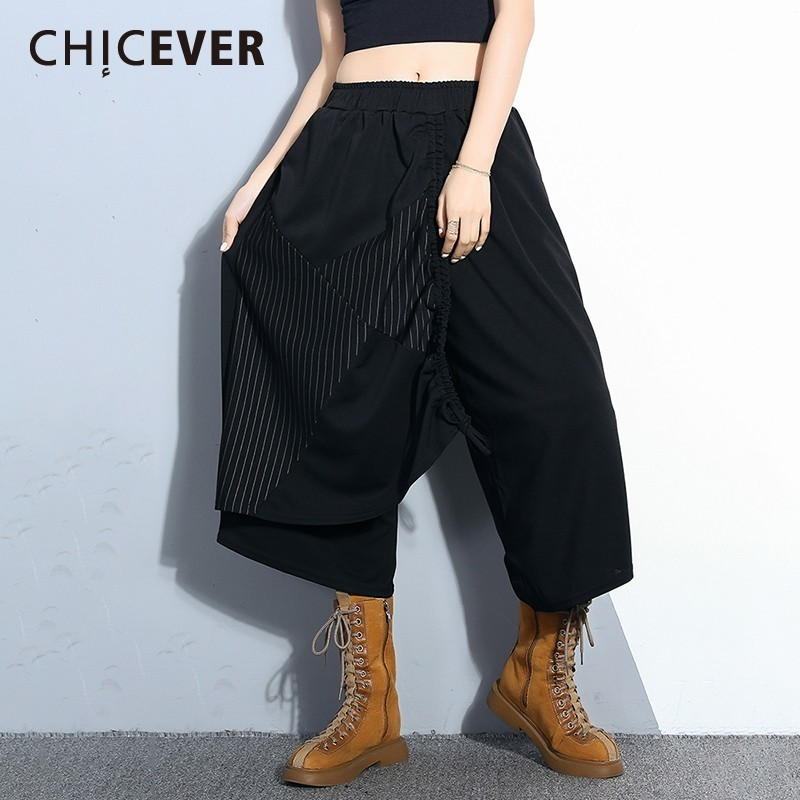 CHICEVER Loose Women   Pant   2019 Spring Striped Patchwork Elastic Waist Slim Calf-length Female   Wide     Leg     Pants   Fashion Korean New