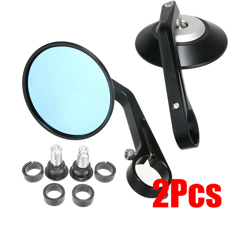 2pcs/Pair Black Round Motorcycle 7/8 Handle Bar End Rearview Side Mirror High Quality Accessory parts Suitable For Cafe Racer