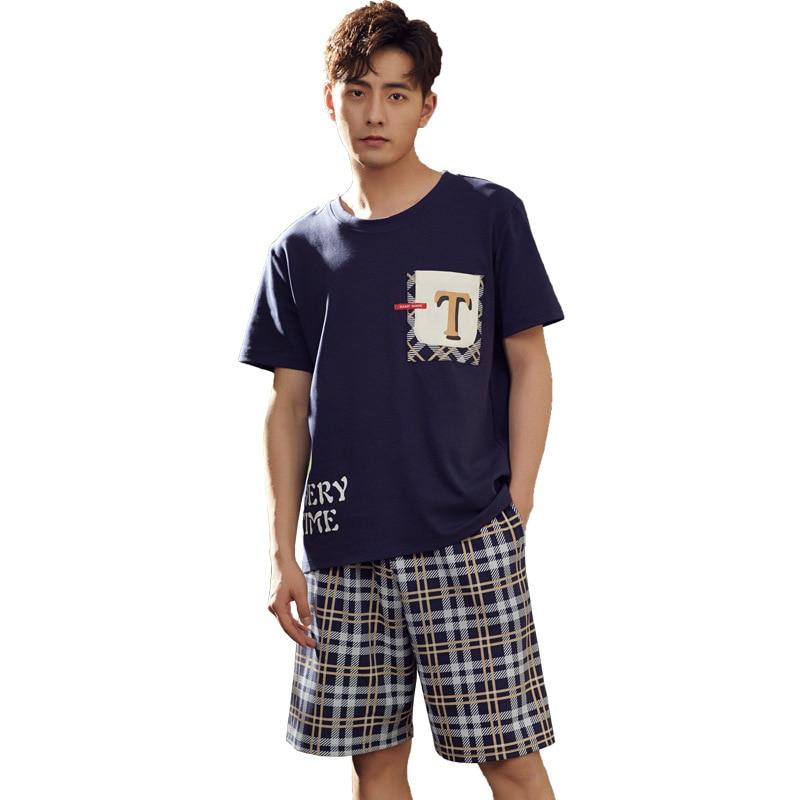 2019 Summer New Men's Pajamas Pullover Short Sleeve Cotton Thin Pajama Set