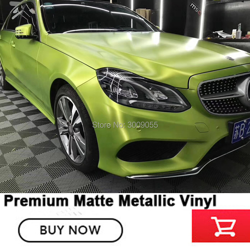 Véritable photo Métallisé Mat En Vinyle (Citron vert) housse de voiture en vinyle Rouleaux emballage de voiture en Vinyl Rouleau Refuser Faible Qualité