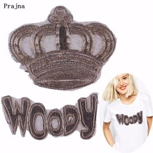 Prajna Gold Edge Beaded Crown Patch DIY Woody Word Patches For Cloth Sewing Fashion Lace Sticker Comfortable High Quality H