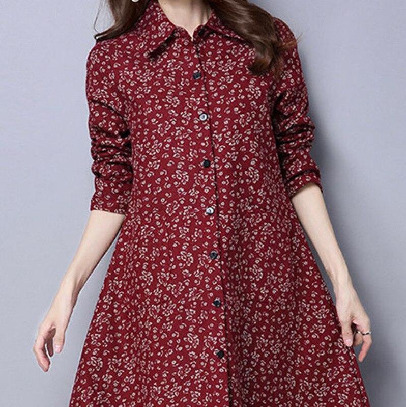 BUYKUD Vintage Shirt-Coats 2018 Autumn Winter New Long Sleeve Printed Coat Office Lady Irregular hem Women Button Linen Coats 6