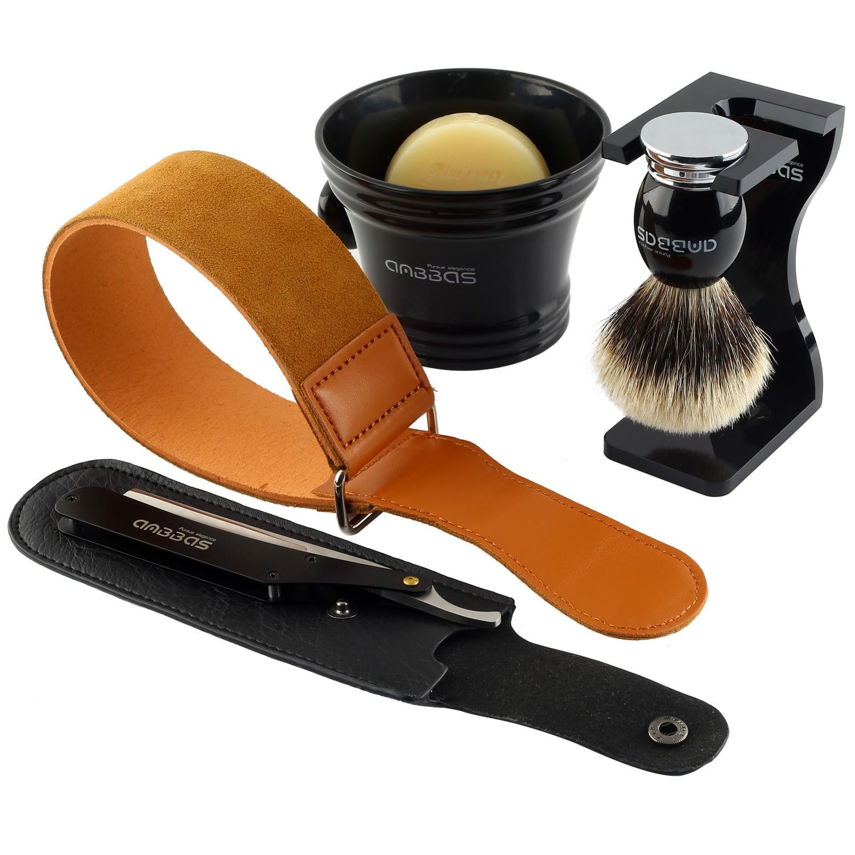 Shaving Brush Silvertip Badger Hair,7in1 Kit 7pcs Men Shaving Set With Shaving Stand Mug Soap Straight Edge Razor Leather Strop