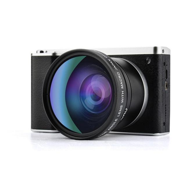"""12X Zoom Digital Camera Home 24 Million Pixel Wide Angle Macro USB2.0 4"""" HD IPS Touch Screen SLR Camera Black Support 32G SD"""
