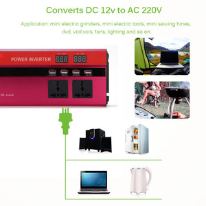 Image 5 - 4000 واط/5000 واط الشمسية محول طاقة السيارة DC12/24 فولت إلى AC110/220 فولت شرط موجة محول شاشة ديجيتال 4 USB واجهات