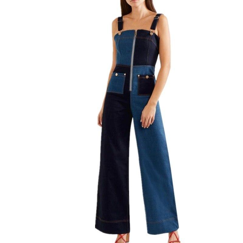 Mode De Jambes Blue Jeans Pantalon Mince Denim Pour Femme Barboteuses Bloc Large Vêtements En Bustier Femmes 2019 Couleur Printemps Salopette Combinaison C06nwqRxP