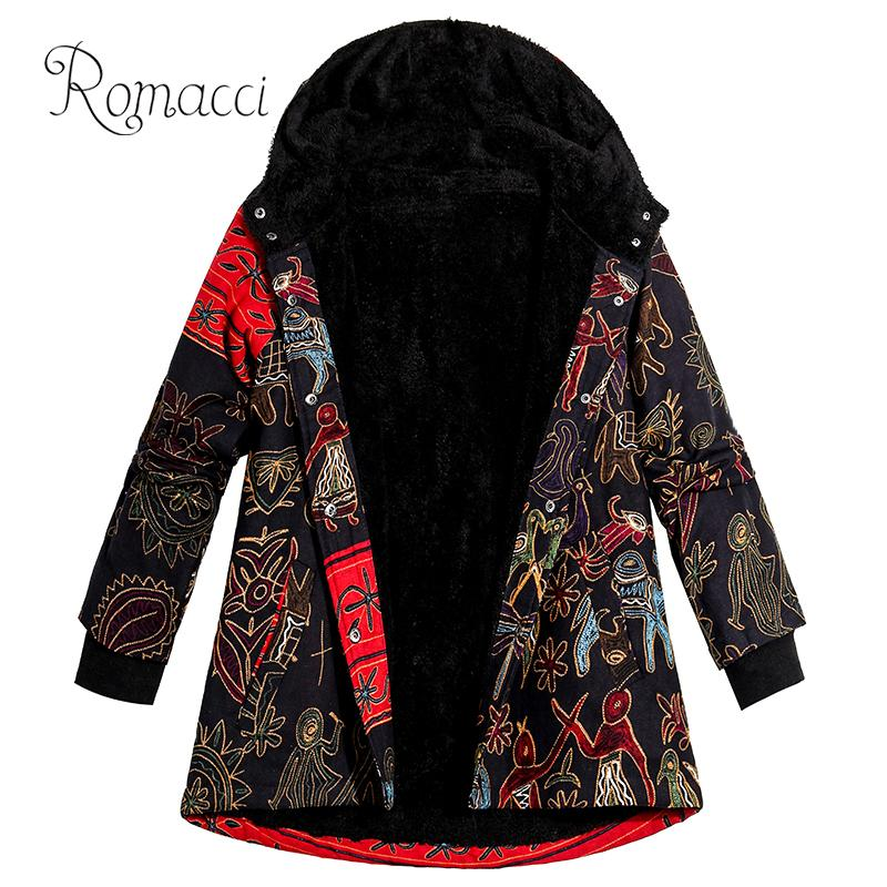 Winter Women Plus Size Jacket Coat Hooded Ethnic Print Thick Fleece Warm   Parka   Coat Vintage Long Outerwear Overcoat Black 5xl