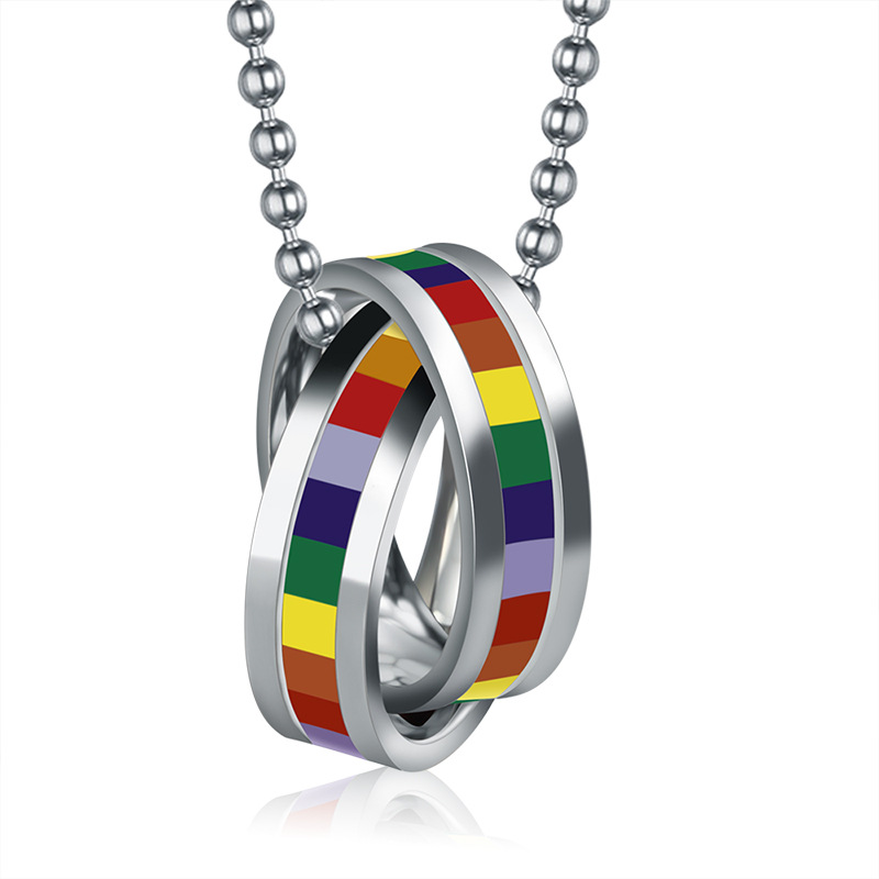 Stainless Steel Necklace Rainbow Pendant Men Man Gay Movie Jewelry Dog Necklaces Collier Femme Collares Mujer Ketting Halskette image
