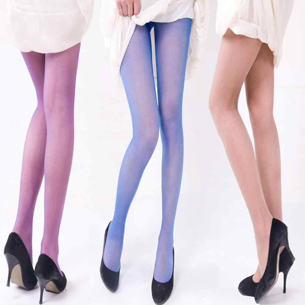 c564b3ff316 New Summer Women Sexy Sheer Pantyhose Stretchy Footed Tights Candy Color  Stockings
