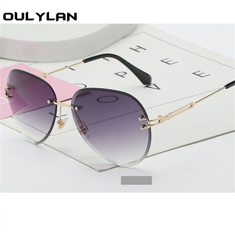 Oulylan Rimless Sunglasses Women Brand Designer Sun Glasses Gradient Shades Cutting Lens Ladies Frameless Metal Eyeglasses UV400 2