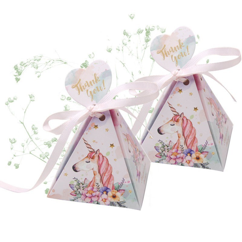 10 Pcs Rainbow Unicorn Candy Box Romantic Colorful Party Favor Boxes for Wedding