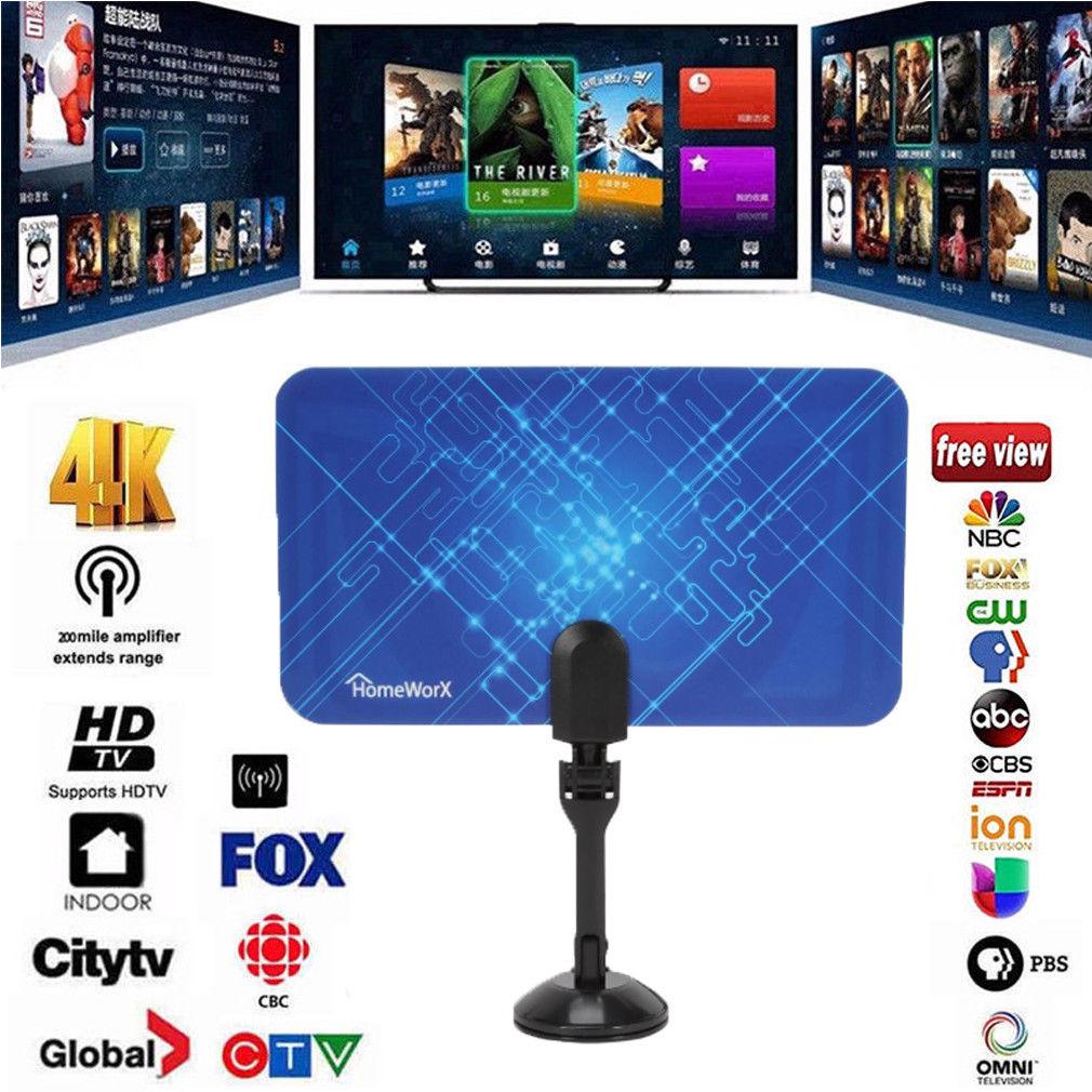 Portable Stick TV Antenna Indoor 200 Miles Digital 1080P HDTV UHF VHF Aerial 4K