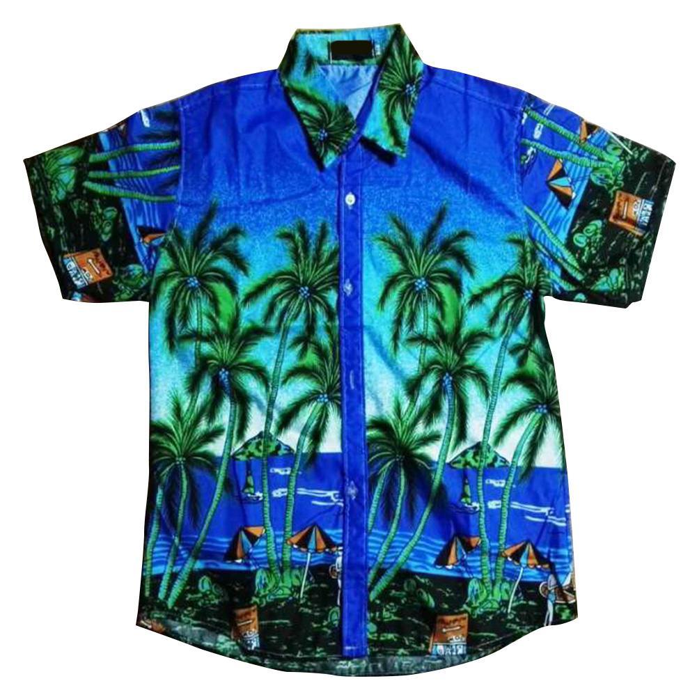 MISSKY Unisex Lovers Men Shirt Short Sleeve Beach Shirt Hawaiian Scenery Casual Couple Tops For Male