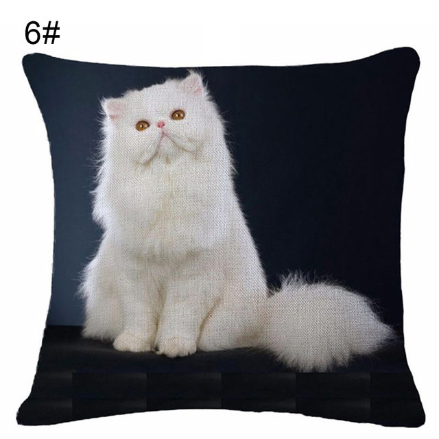 Us 2 0 21 Off Aliexpress Com Buy Lovely Cat Print Linen Pillow Case Cushion Throw Cover Home Cafe From Reliable Cushions Throws Suppliers On