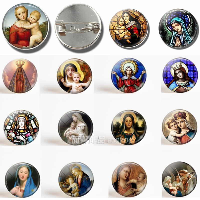 Virgin Mary and Baby Jesus Christian Catholicism Brooch Glass Cabochon Dome Jewelry Fashion Women Men Accessories Gift