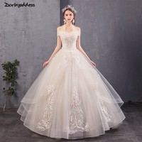 Robe De Mariee Elegant Champagne Princess Wedding Gown Off Shoulders Lace Luxury Wedding Dress 2019 Plus Size Vestido De Noiva