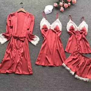 Image 5 - Lisacmvpnel 4 Pcs เซ็กซี่ลูกไม้ผู้หญิง Robe ชุดเสื้อสเวตเตอร์ถัก + Nightdress + กางเกงขาสั้นชุดชุดนอนแฟชั่น