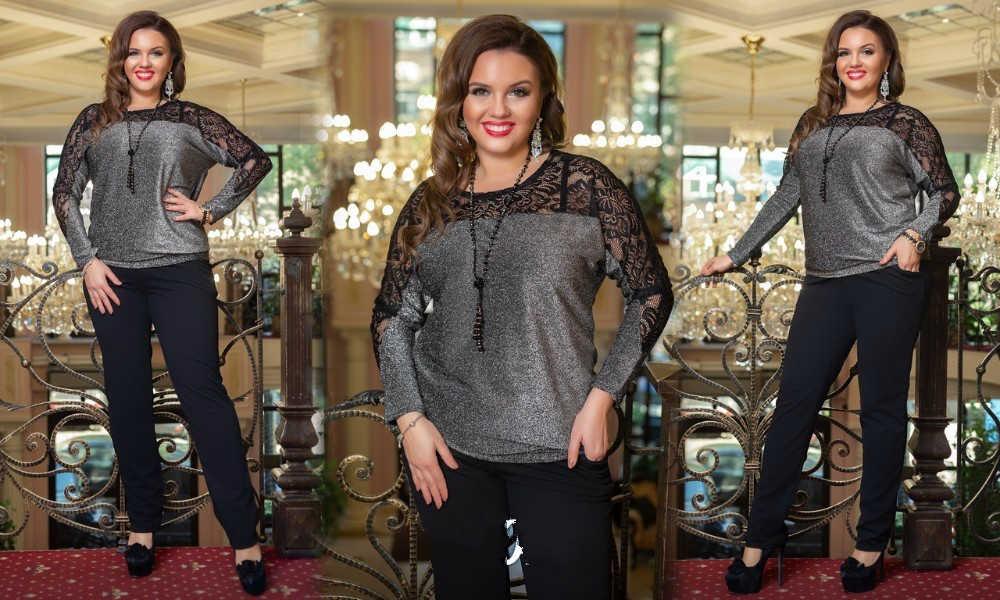2019 блесток Дамы топы плюс размер блузка женщин Ультрамодная блузка с кружевными вставками металлик вязать элегантный длинный рукав черная рубашка Camisa Feminina