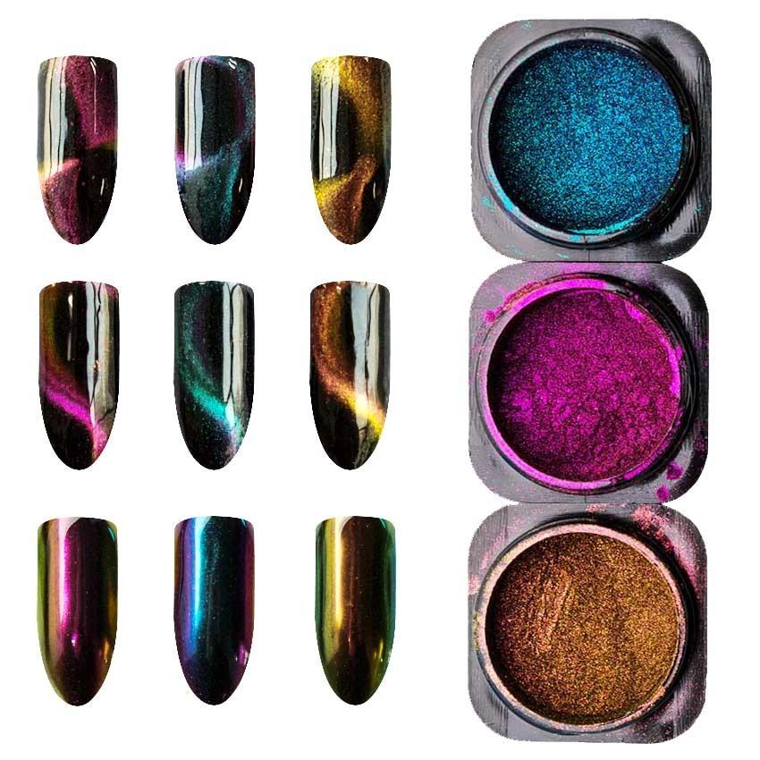1 Box Chameleon Flakes Shimmer Galaxy Nail Glitter Dust: 1 Box Cat Eyes Chameleon Magnet Nail Glitter 3D Powder